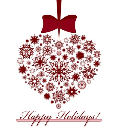 Illustration of a Christmas heart made with snowflakes isolated on white background.