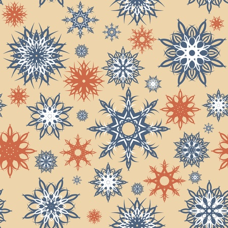 vector illustration of a seamless snowflakes background. Christmas theme. Stock Illustratie