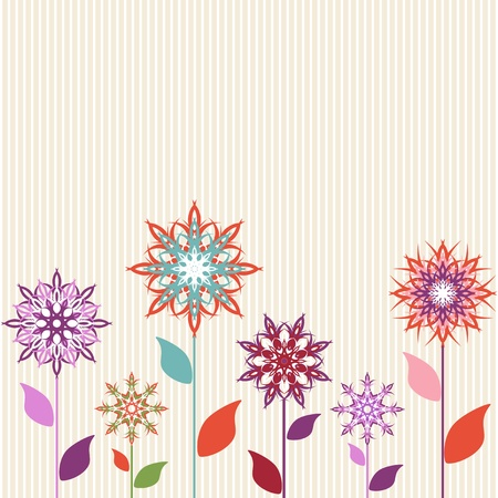 Vector illustration of an abstract flowers on striped background Vector