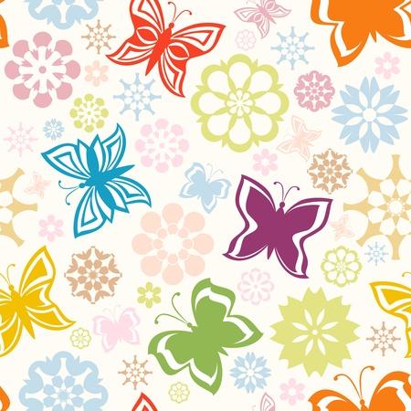 蝶と花とカラフルなシームレス パターンのベクトル イラスト