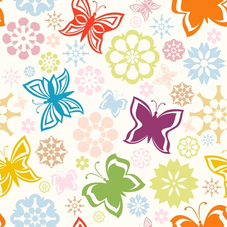 vector illustration of a colorful seamless pattern with  butterflies and flowers Vectores