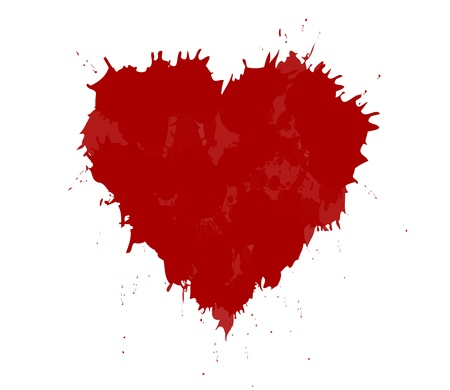 blood stain: illustration of grunge heart made with red ink. Valentine