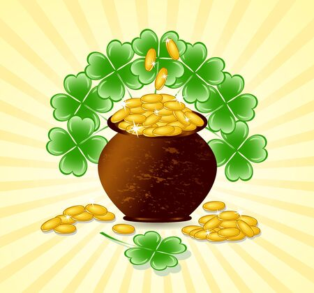 four leafed clover: illustration of a  St. Patrick day theme with pot of gold coins, shamrocks on sunny background