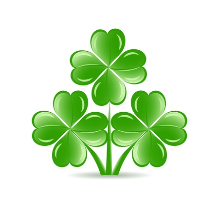 three objects: illustration of the three  shamrocks with four lucky leaves isolated on white background.  St. Patrick
