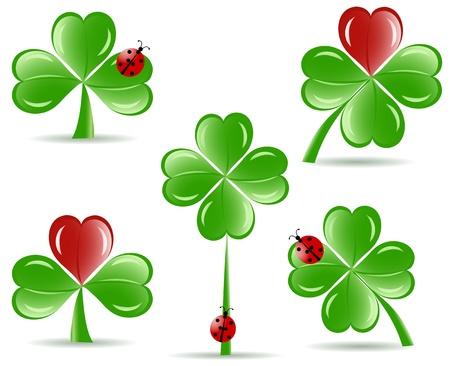 illustration of set of   shamrocks with four lucky leaves ladybug isolated on white background.  St. Patrick