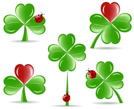 four objects: illustration of set of   shamrocks with four lucky leaves ladybug isolated on white background.  St. Patrick