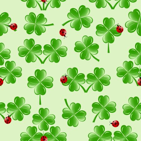 four fourleaf: vector illustration of seamless pattern with four leaves clover and ladybugs