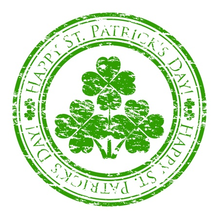 Vector illustrator of a grunge rubber stamp with four-leaves clover and text (happy st. patricks day written inside the stamp) isolated on white background