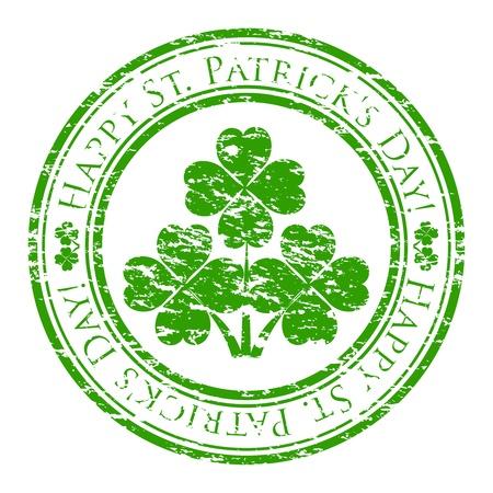 irland�s: Vector ilustrador de un sello de goma del grunge con el tr�bol de cuatro hojas y el texto (st feliz. Patrick escrita dentro del sello) aisladas sobre fondo blanco Vectores