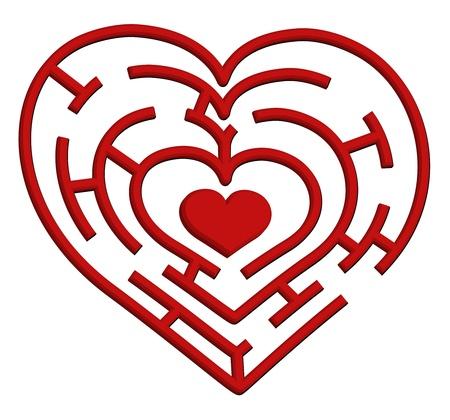 kezdetek: Vektoros illusztráció egy szív labirintus. Valentin-nap témája