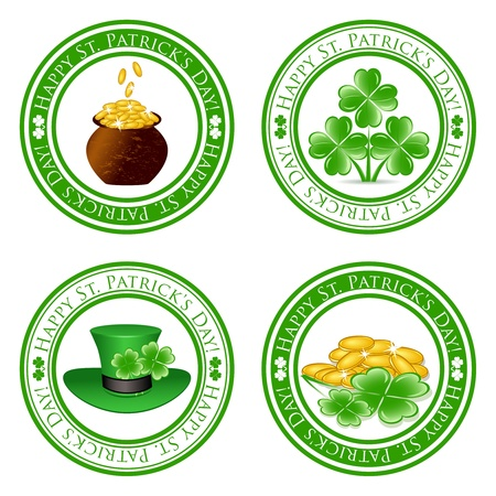 vector illustration of a set of green  stamps with four leaf clover shape, pot, gold coins, leprechaun hat and the text Happy St. Patricks Day written inside the stamp