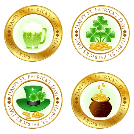 lucky clover: Vector illustration of a set of four glossy icons for patrick day celebration  Illustration