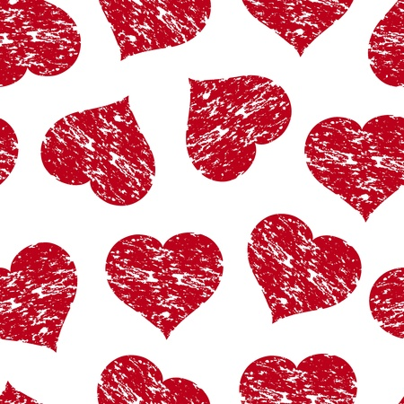 Vector illustration of a seamless pattern with the red grunge hearts Stock Vector - 11990828