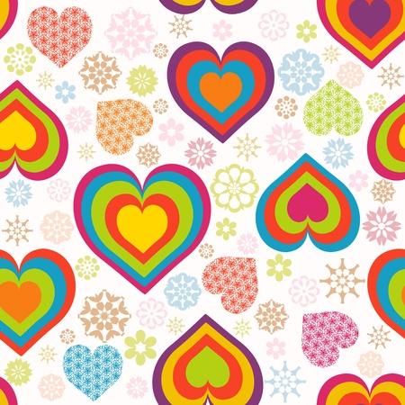 Vector Illustration eines nahtlosen Herzen Muster. Valentinstag Thema Standard-Bild - 12025863