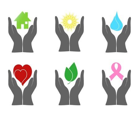 cancer symbol: ilustraci�n de un conjunto de iconos del medio ambiente con las manos humanas.
