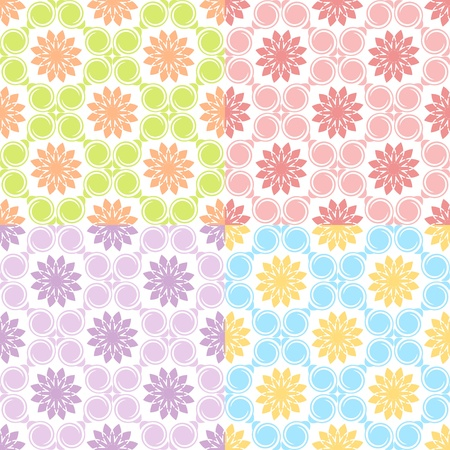 illustration of a set of four seamless patterns.