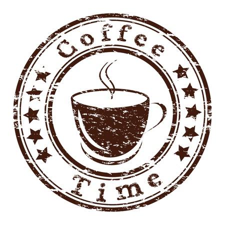 コーヒー カップとグランジ タイムスタンプ