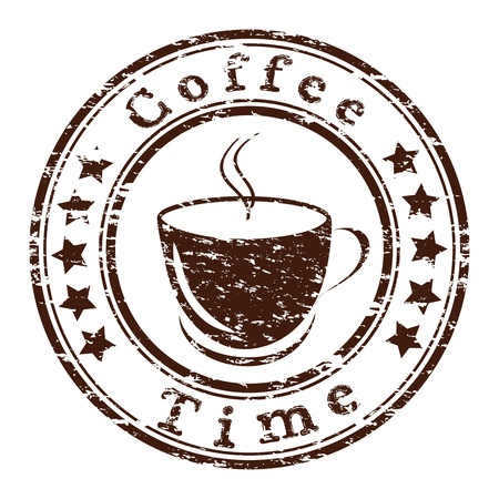 cofe: coffee time grunge stamp with a cup