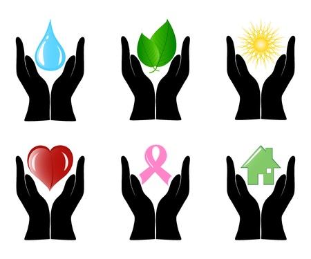 Vector illustratie van een aantal symbolen omgeving mensenhanden.