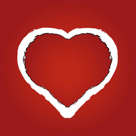 teared: vector illustration of a heart made of red ragged paper