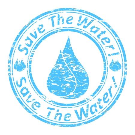 ahorrar agua: ilustración del sello de goma azul del grunge con el texto
