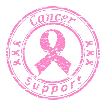 illustrator of a grunge rubber stamp with pink ribbon and text (cancer support written inside the stamp) isolated on white background