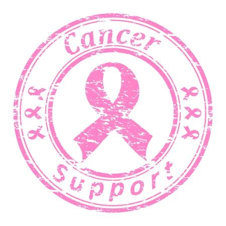 illustrator van een grunge rubberen stempel met roze lint en tekst (kanker ondersteuning geschreven in het stempel) op een witte achtergrond Stock Illustratie
