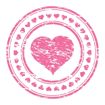 illustrator of a grunge pink rubber stamp with heart  isolated on white background Çizim