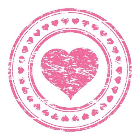 illustrator van een grunge roze rubberen stempel met het hart op een witte achtergrond