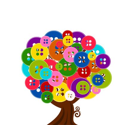 blue button: vector illustration of an abstract tree with buttons isolated on white background
