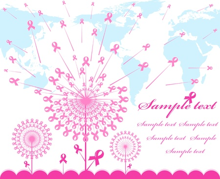 illustration of an abstract pink Support Ribbon  background with map silhouette   イラスト・ベクター素材