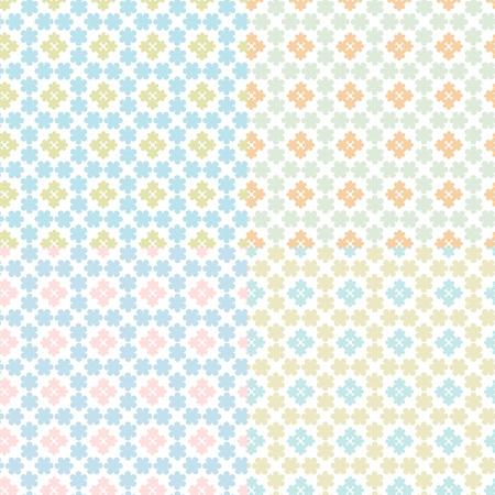 Vector illustratie van een set van abstracte geometrische florale naadloze patronen Stock Illustratie