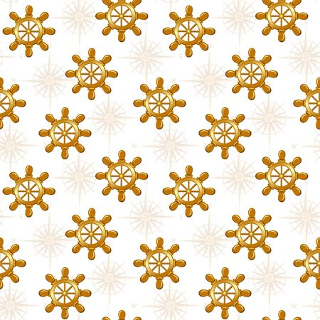 seamless pattern of boat wheel isolated on whte background. Ilustracja
