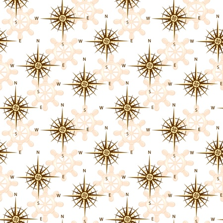 seamless compass rose isolated on whte background.   Ilustracja