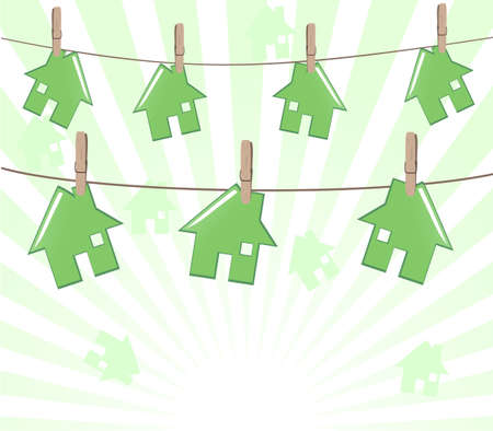 houses on rope on sunny background. Real estate concept