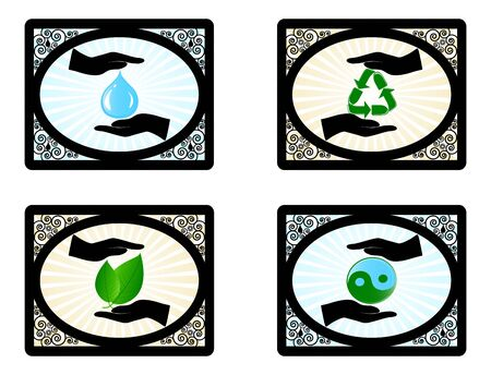 Vector illustration of a set of environment icons with human hands  Çizim