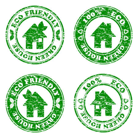 vector illustration of a set of green eco friendly house  stamps Ilustracja