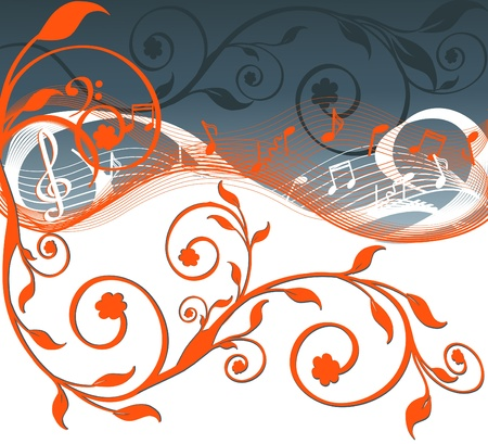 illustration of music background with notes and flowers   Vector