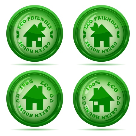illustration of a set of glossy green house icons isolated on white background Vector