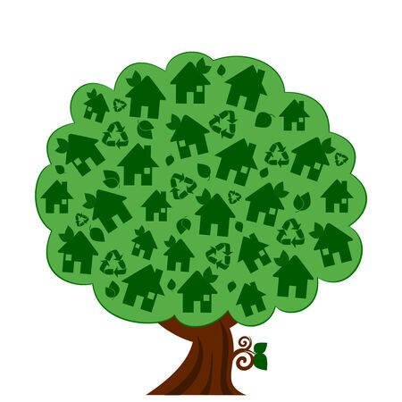 illustration of a green eco tree