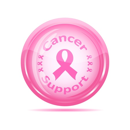 awareness ribbons: illustration of a  cancer support icon with pink ribbon