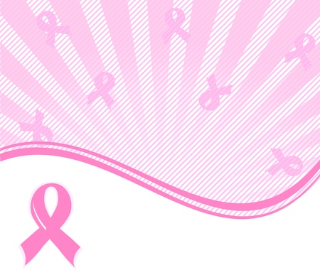 illustration of a  pink ribbon breast cancer support background  向量圖像