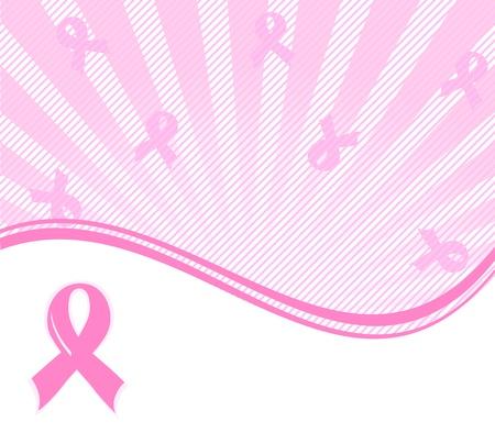 cancer ribbons: illustration of a  pink ribbon breast cancer support background  Illustration