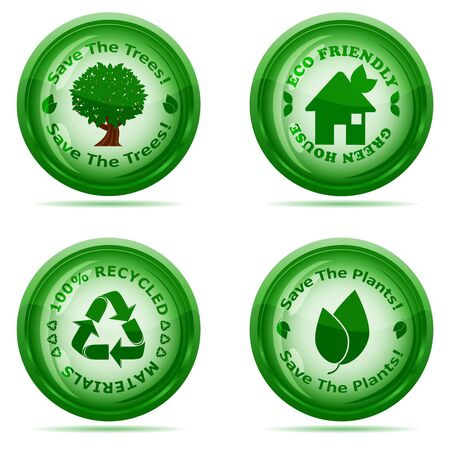 recycle sign:  illustration of a set of green environmental icons isolated on white background