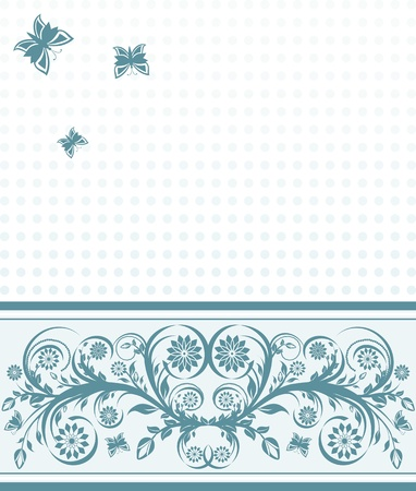 illustration of a  cover background with flower ornament and butterflies