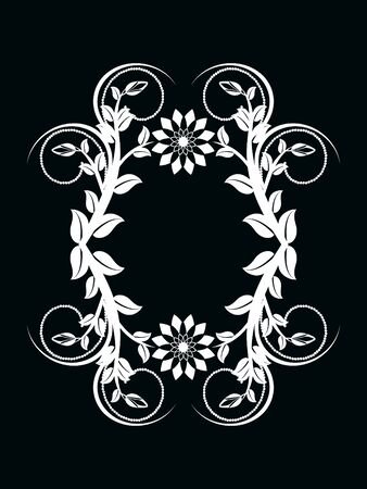illustration of the number zero made with floral ornament on black background Ilustracja