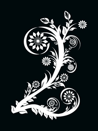 illustration of the number two made with floral ornament on black background