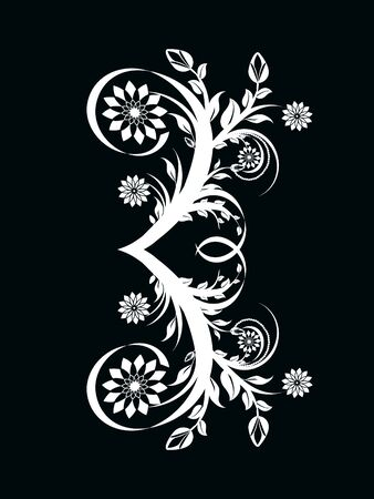 illustration of the number three made with floral ornament on black background