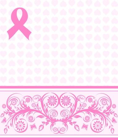 illustratie van een roze lint van borstkanker ondersteuning achtergrond