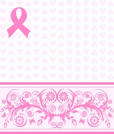 illustration of a  pink ribbon breast cancer support background